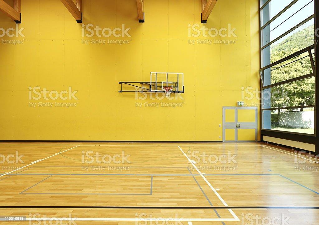 public school, interior wide gym stock photo