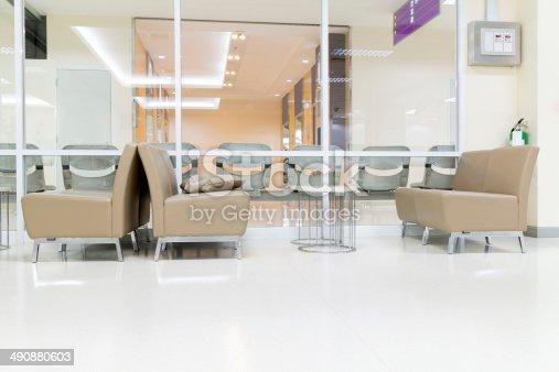 istock Public Seat on White Floor 490880603