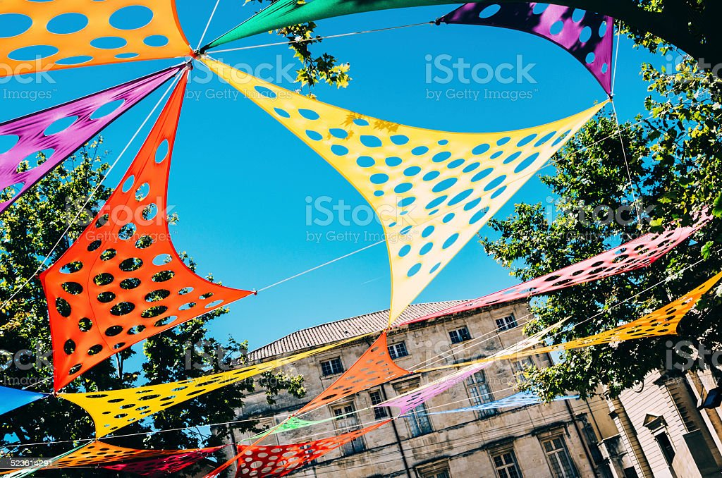 Public space at Nimes in Provence. stock photo