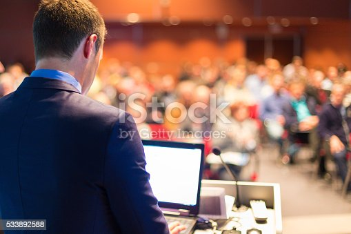 595328682 istock photo Public speaker at Business Conference. 533892588