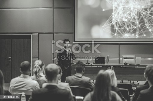 istock Public speaker at science convention 962693140