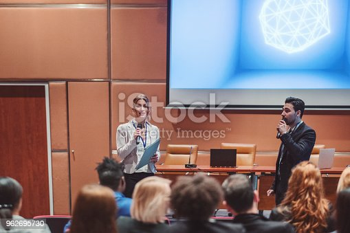 istock Public speaker at science convention 962695730