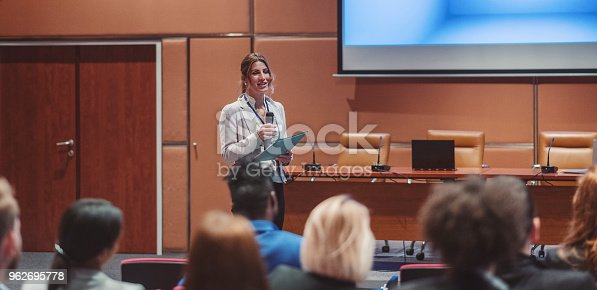istock Public speaker at science convention 962695778