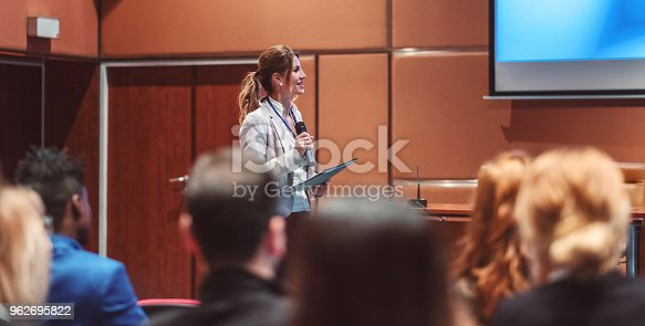 istock Public speaker at science convention 962695822