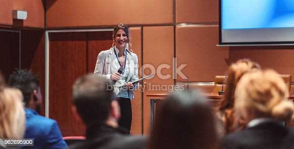 istock Public speaker at science convention 962695900