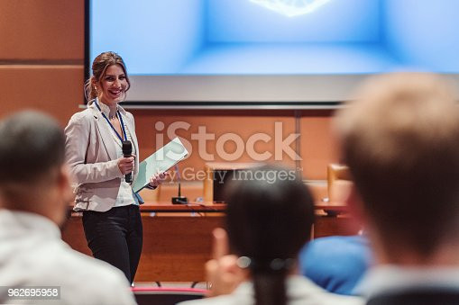 481711192 istock photo Public speaker at science convention 962695958