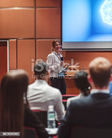 481711192 istock photo Public speaker at science convention 962695992