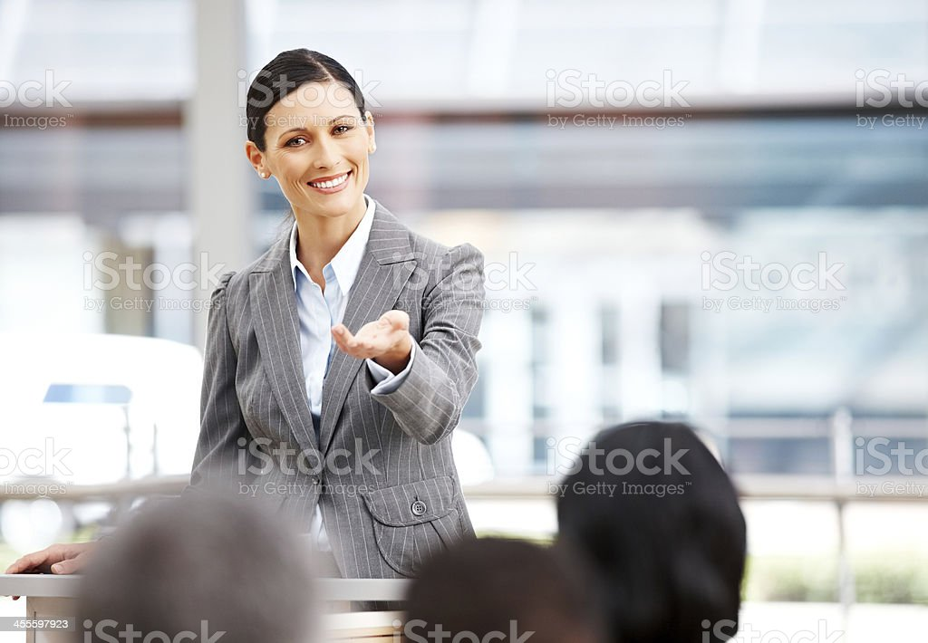 Public Speaker Calling on an Audience Member royalty-free stock photo