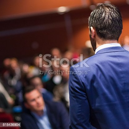 595328682 istock photo Public speaker giving talk at Business Event. 515436904