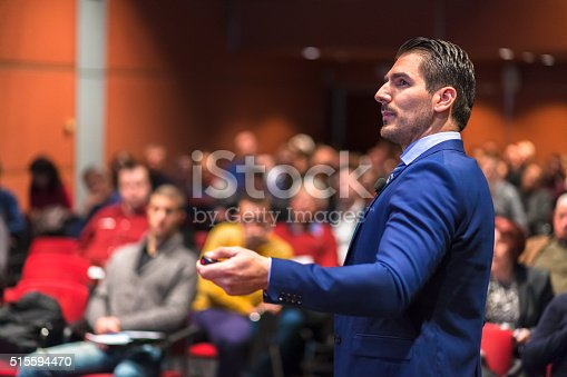 595328682 istock photo Public speaker giving talk at Business Event. 515594470