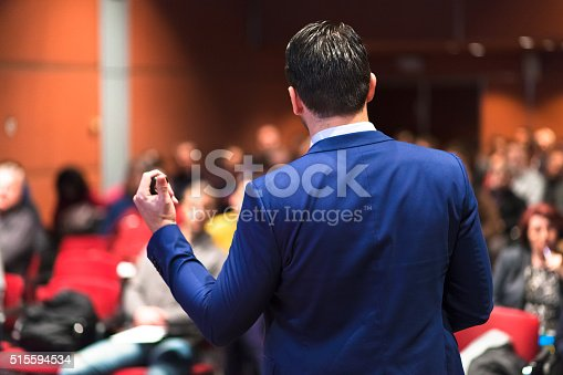 595328682 istock photo Public speaker giving talk at Business Event. 515594534