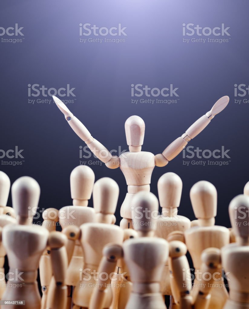 Public speaker inspires a crowd royalty-free stock photo