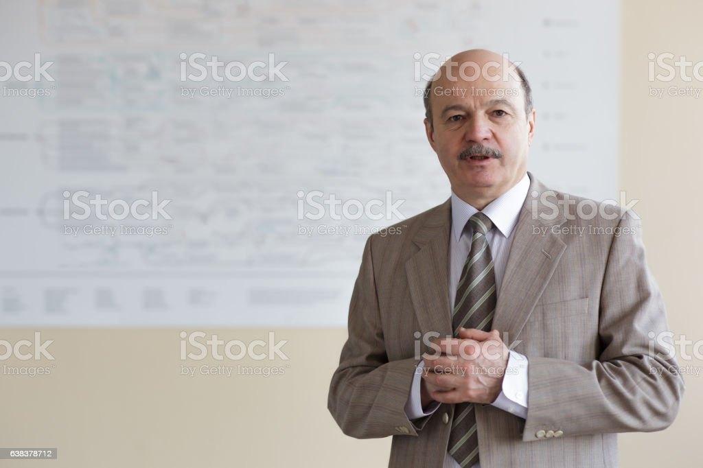 Public speaking at a conference or meeting. stock photo