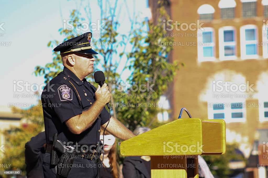 Public Speaking by a Police Officer stock photo