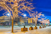 Public Square in downtown Cleveland Ohio USA in winter