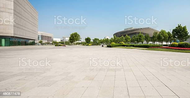 public square with empty road floor in downtown