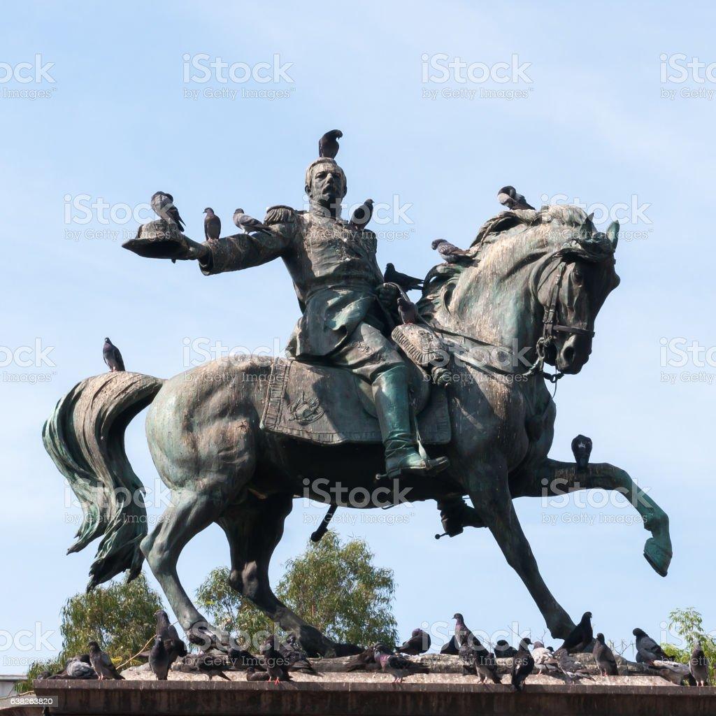 Public statue president Gerardo Barrios(1830-1865) in San Salvador stock photo