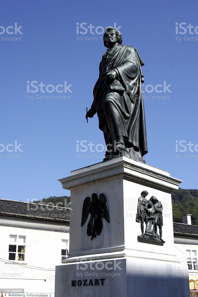 Public Statue to Mozart in Salzburg Austria stock photo