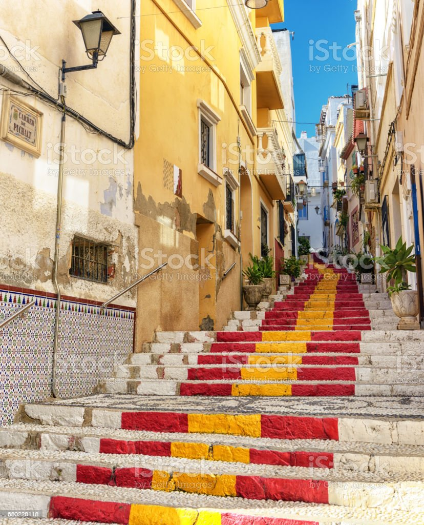 public steps painted with spanish flag colors in southern spain