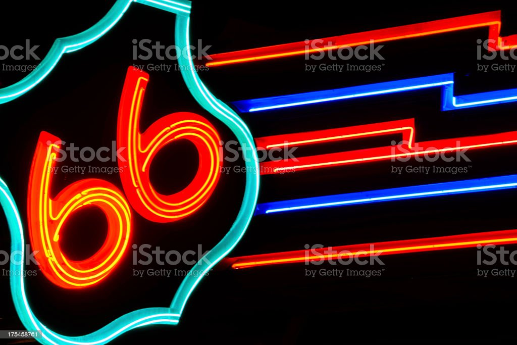 public street neon route 66 sign at night in Albuquerque royalty-free stock photo