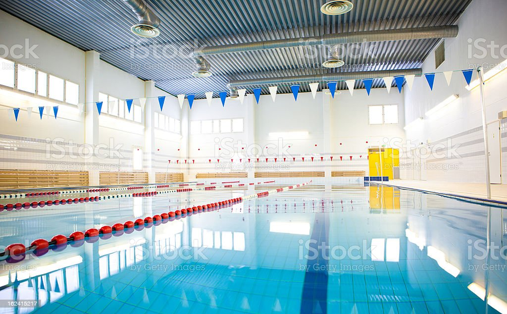 public swimming pool stock photo