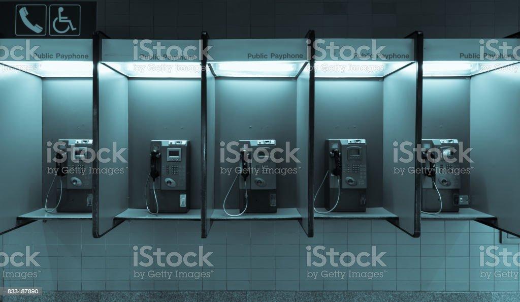 Public telephone in bangkok Thailand stock photo