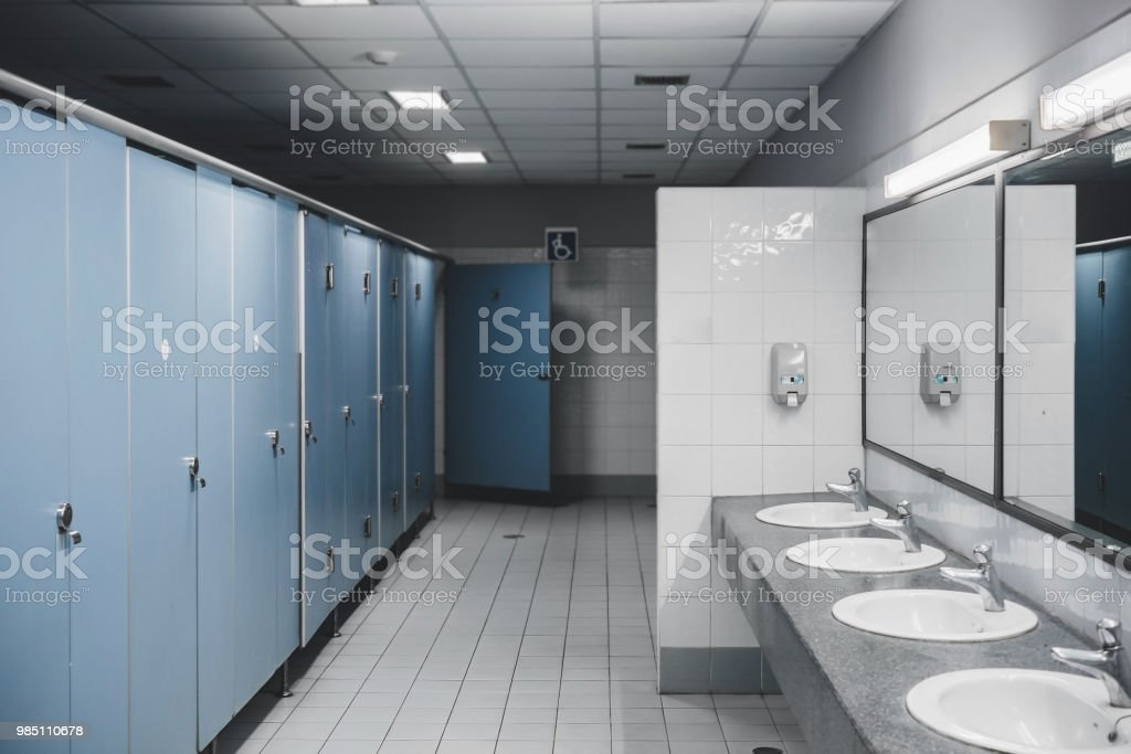 Public toilet and Bathroom interior with wash basin and toilet room. stock photo