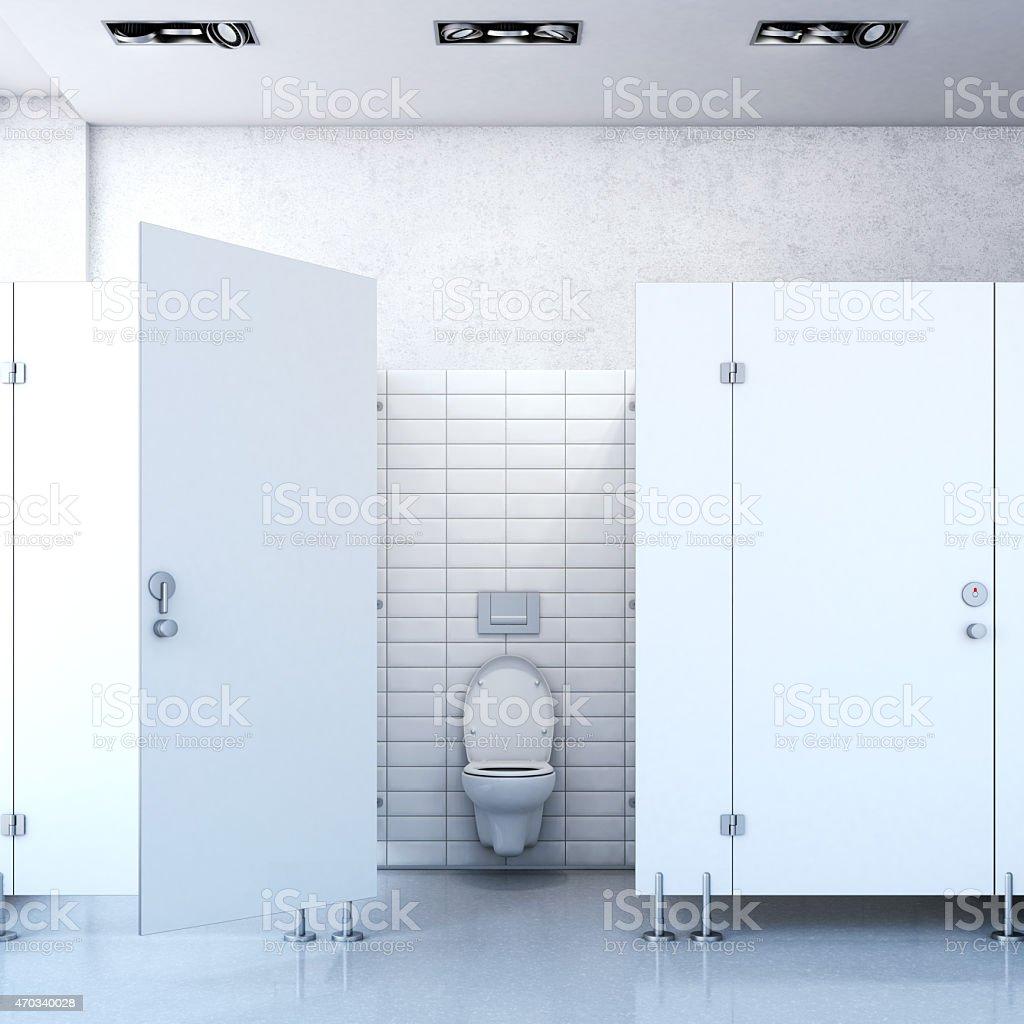 Public toilet cubicle. 3d rendering stock photo