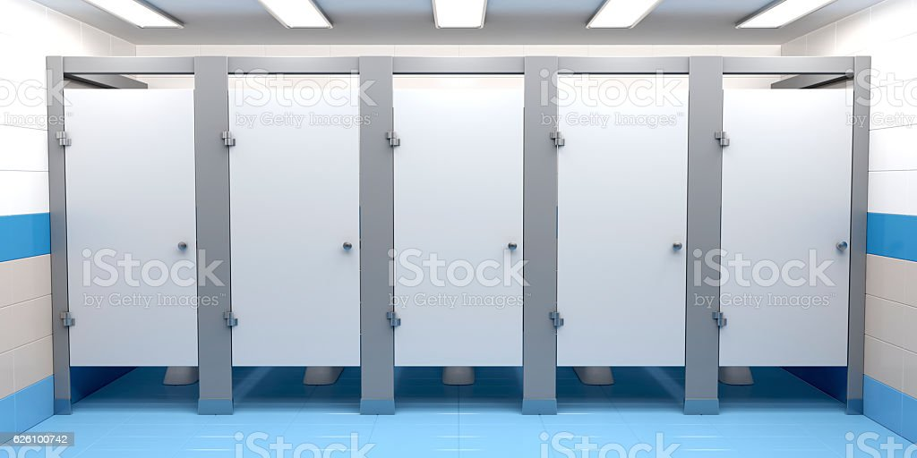 Public toilet cubicles stock photo