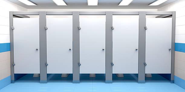 Public toilet cubicles stock photo