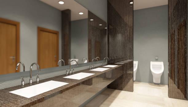 renderização de banheiro público em shopping, 3D - foto de acervo
