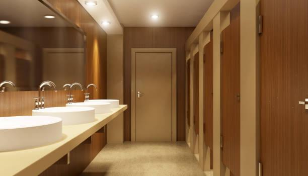 Banheiro público o edifício de escritório. 3D Render - foto de acervo