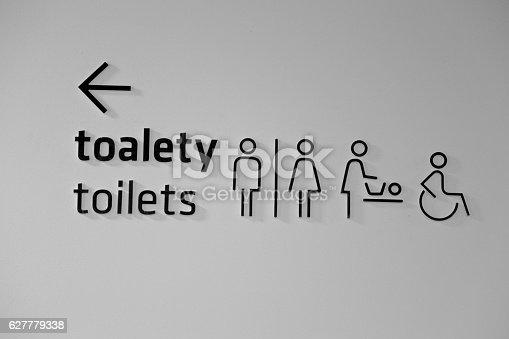 480193462 istock photo public toilets sign icon restroom symbol wc arrow 627779338
