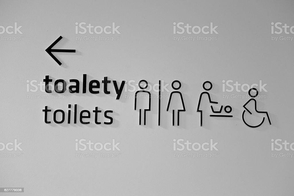 public toilets sign icon restroom symbol wc arrow stock photo