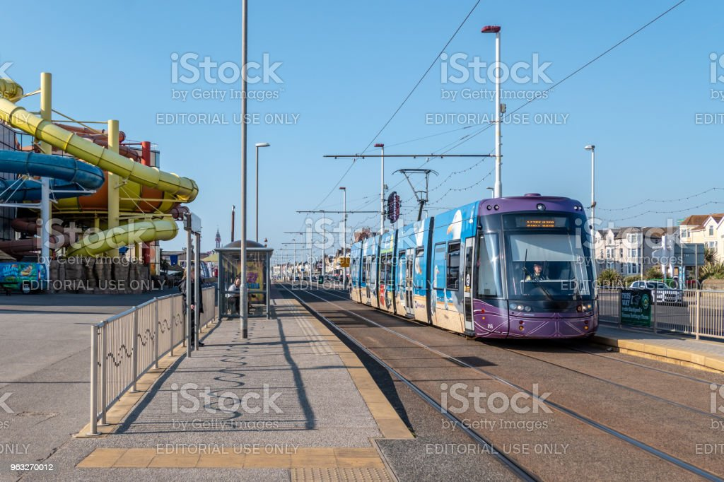 Public tram at a stop in Blackpool stock photo