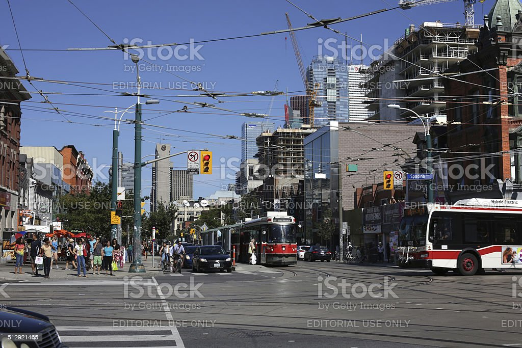 Public Transit at Intersection, Queen Street and Spadina Avenue, Toronto stock photo