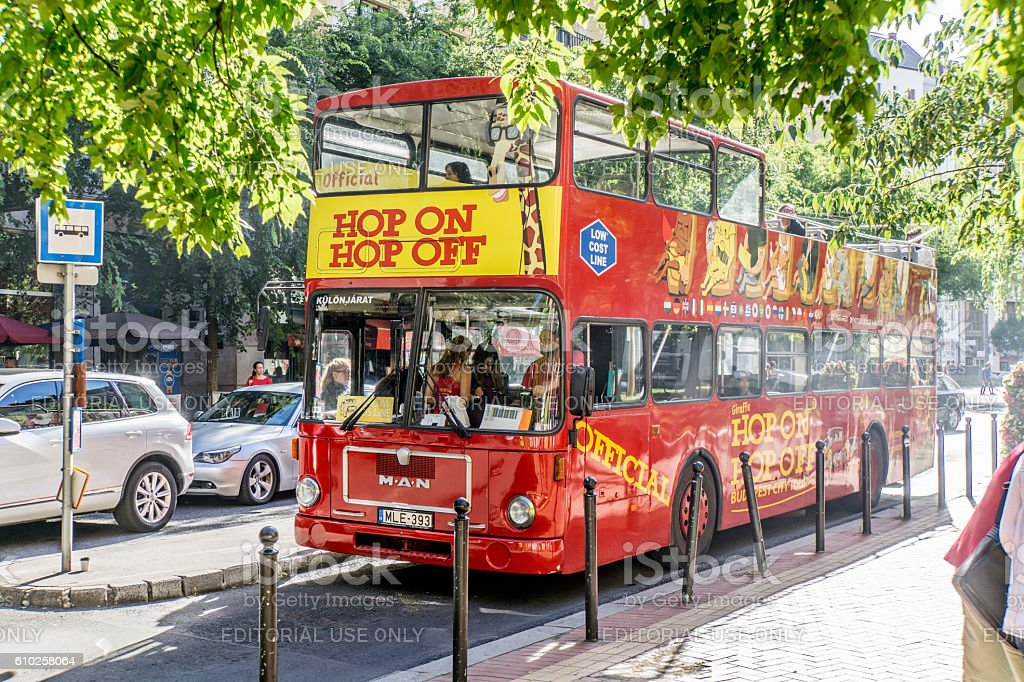 Public transport buses open-top double-decker in central Budapest stock photo