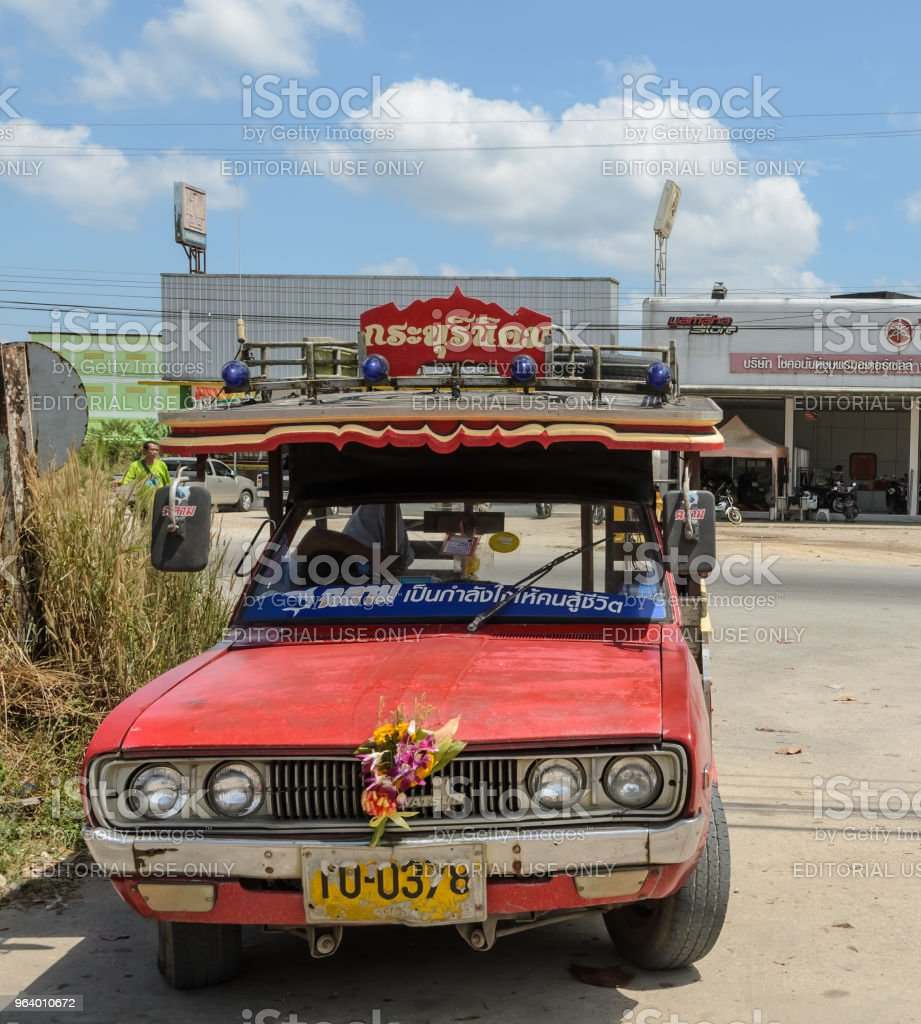 Public transport of wooden minibus or Songtaew in Ranong, Thailand. - Royalty-free Asia Stock Photo