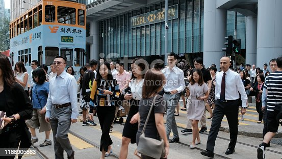 Central Hong Kong - September 25, 2019 : Public transport on Des Voeux Road Central, Hong Kong at Day.