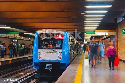 istock Public transport Subway train in Santiago, Chile 1278462233