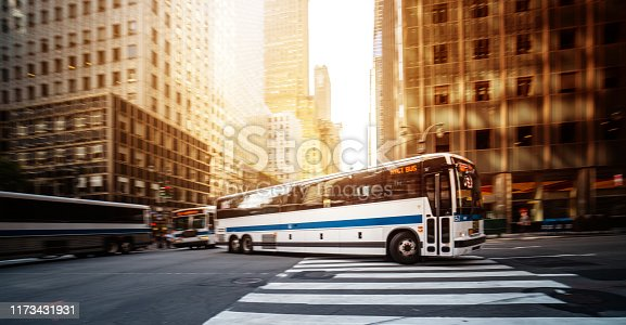 Public transportation bus in New York in Manhattan, New York