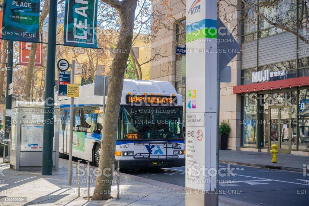 December 6, 2017 San Jose / CA / USA - Public transportation bus...