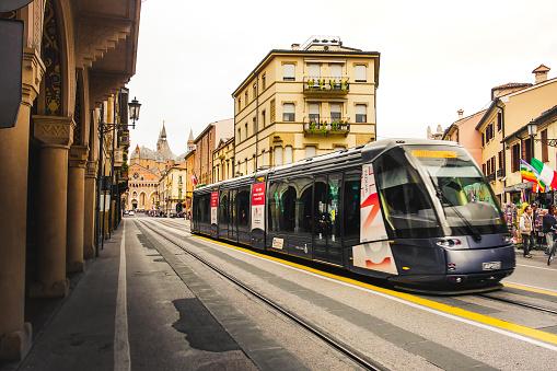public transportation in italy, a tram return from San Antonio basilica in Padua, Italy, 24 Apr 2017