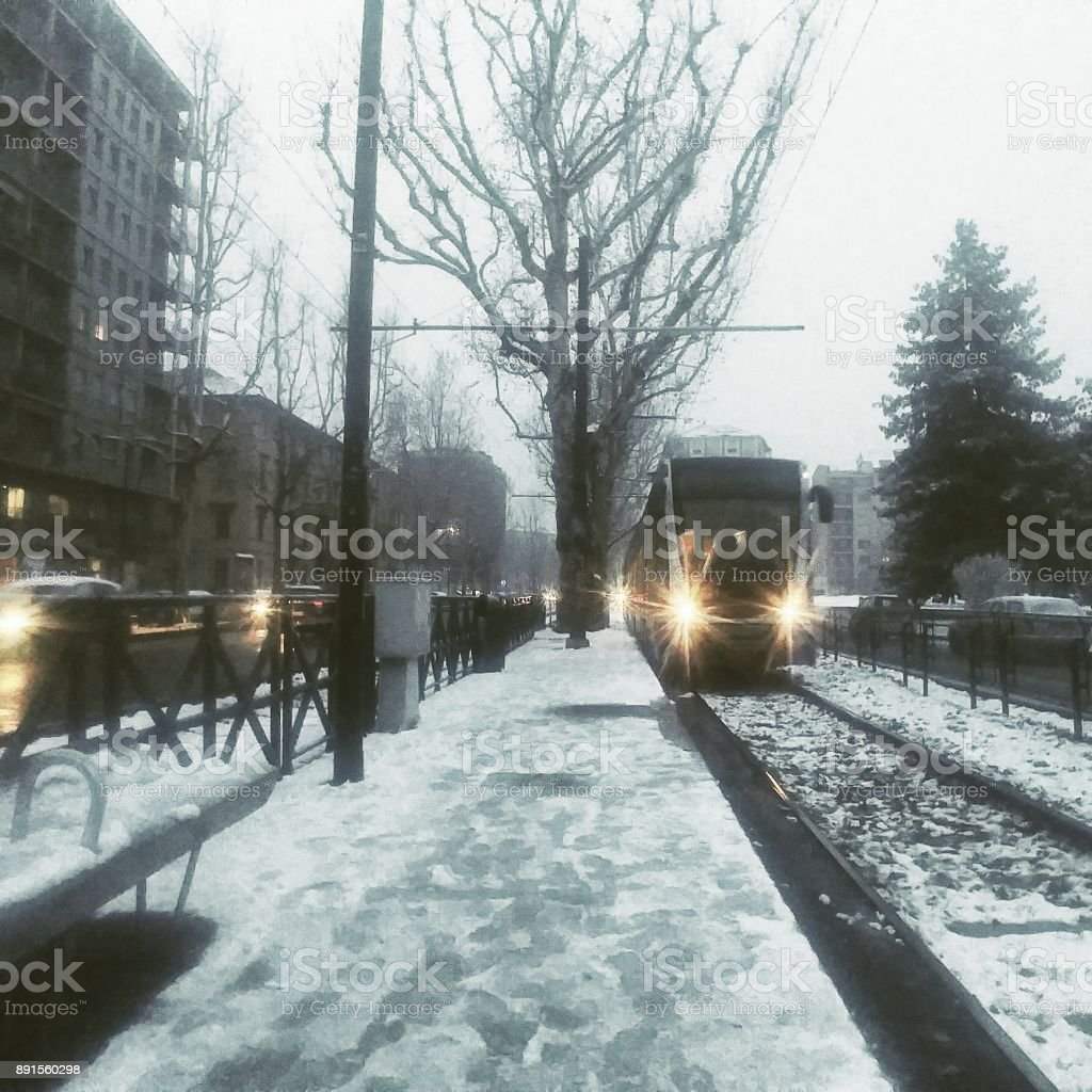 Public transportation in winter under the snow stock photo