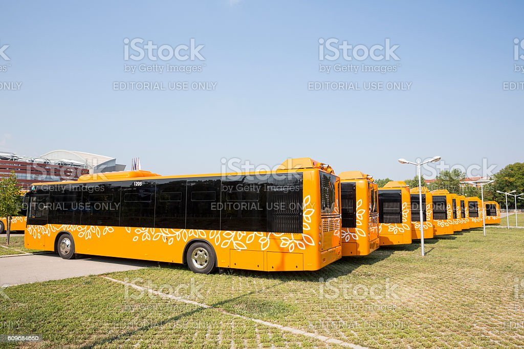 Public transportation new busses backs stock photo