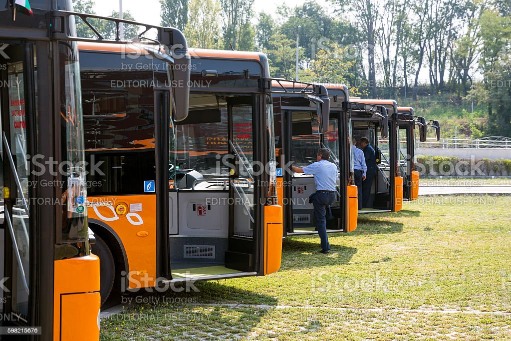 Public transportation new busses drivers stock photo