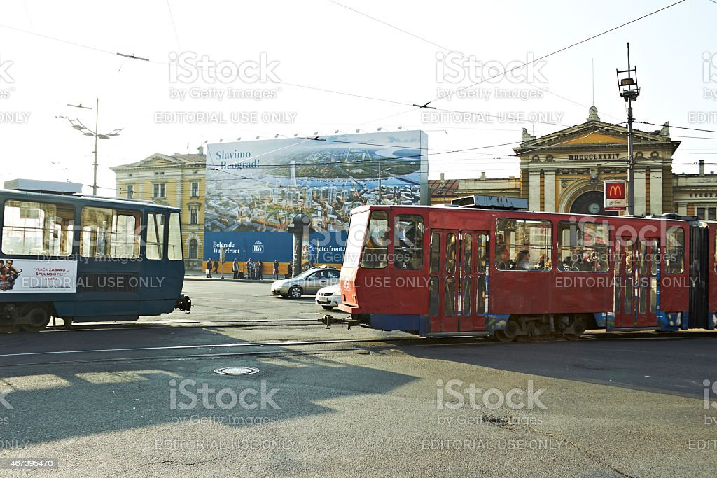 Belgrade - Serbia, city streets - public transportation tram at main...