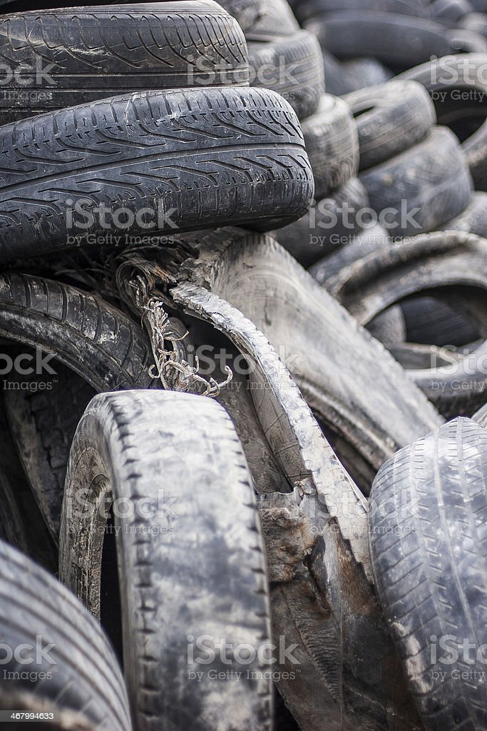 Public Trash Place of Old Tires royalty-free stock photo