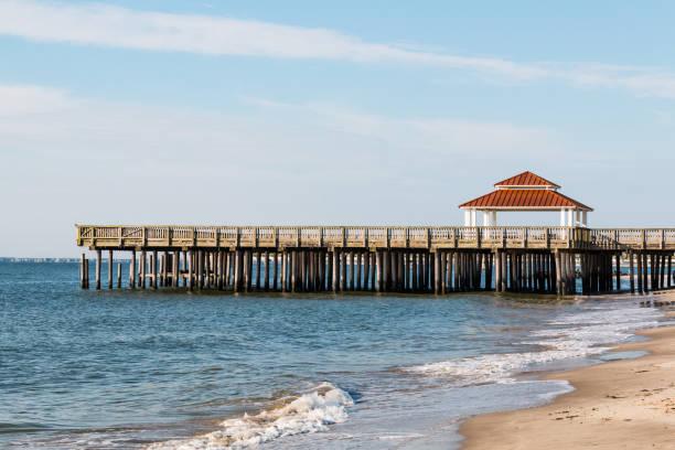 Public Viewing Pier at Buckroe Beach in Hampton, VA stock photo