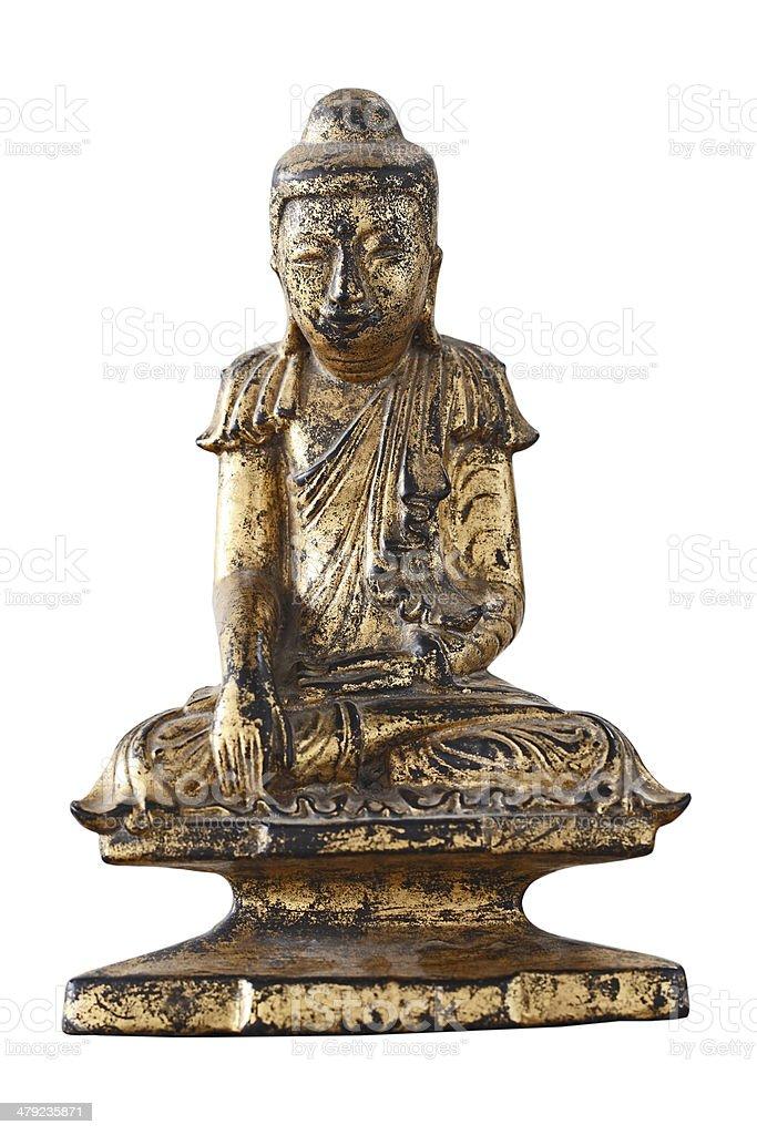 Public wooden buddha  with goldleaf isolaten on white background stock photo